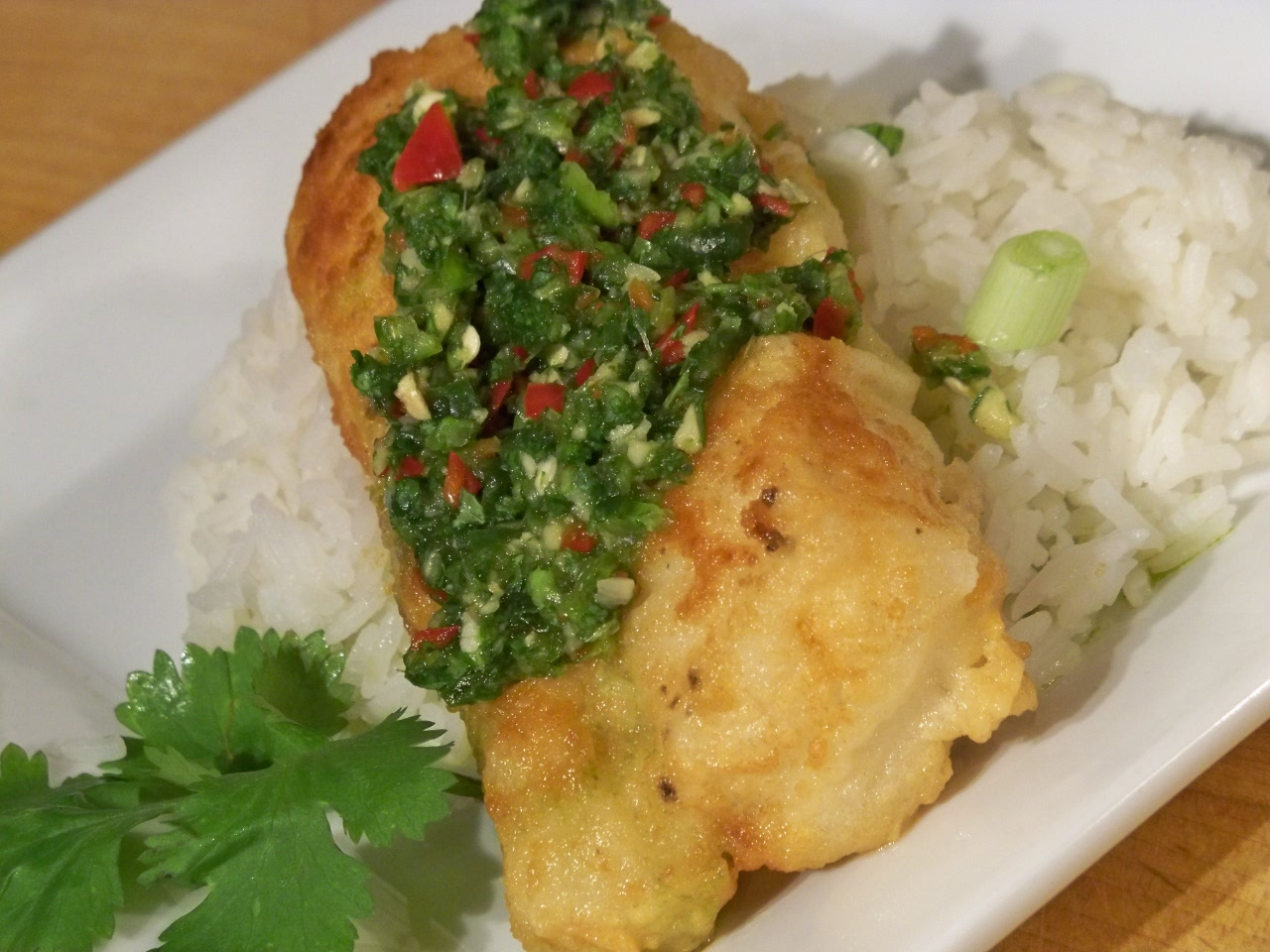 Pan fried cod with cilantro chile relish gourmet day to day for Is cod fish kosher