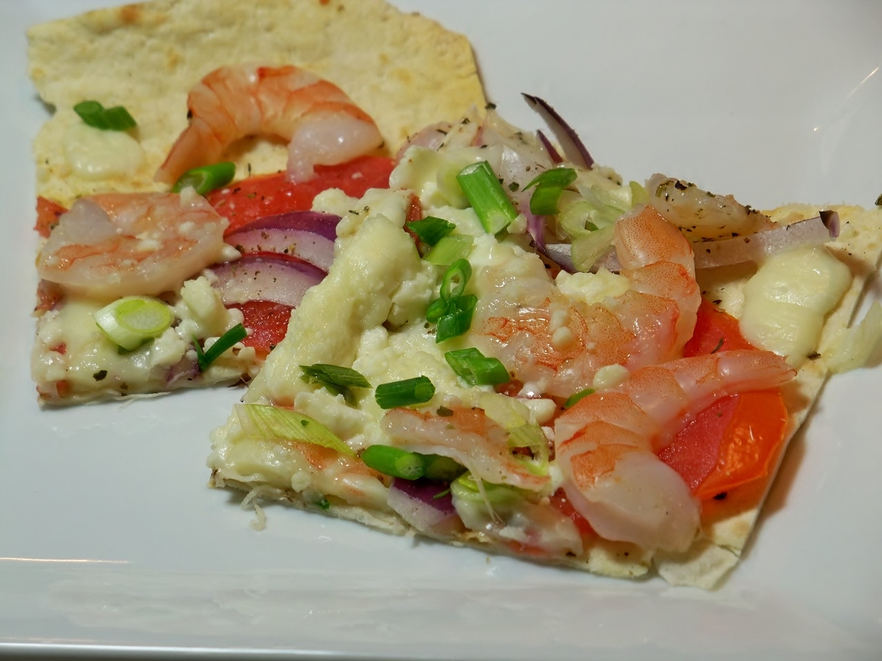 Shrimp and Feta Lavash Flat-Bread Pizza